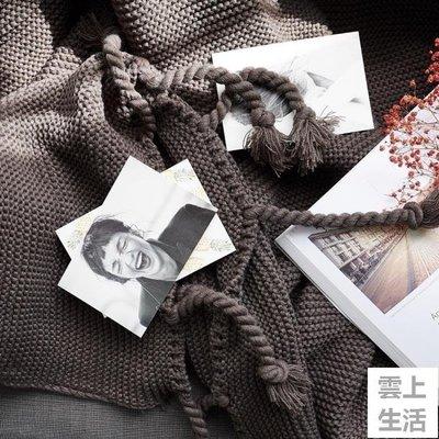 YEAHSHOP 北歐粗線披肩休閒毛毯單人 簡約沙發毯辦公室午休毯針織流蘇毯子241379Y185