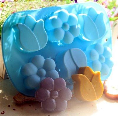 心動小羊^^6連鬱金香花形皂模, 皂、蛋糕模、耐高溫、巧克力