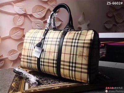 美國大媽代購 Burberry 巴寶莉 經典格紋典雅貴氣手提波士頓包 枕頭包 英倫時尚 美國outlet代購