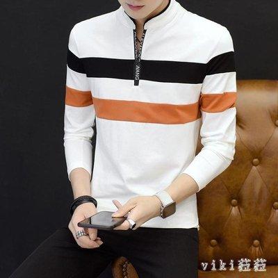 中大尺碼長袖POLO衫 韓版秋裝男士T恤上衣立領拼接拉鏈打底 nm12008