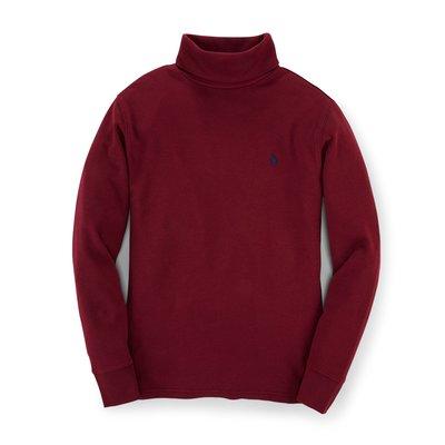 二手美國 Polo Ralph Lauren 酒紅色繡馬高領純棉T恤 大童S