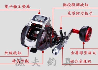 【漁夫釣具】電子數位碼表 小烏龜 雙軸 捲線器 船釣小搞搞