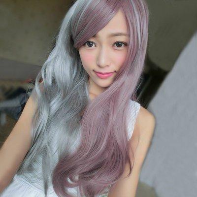 石灰混紫芋雙色漸層微捲長髮【MA221】高仿真整頂假髮☆雙兒網☆