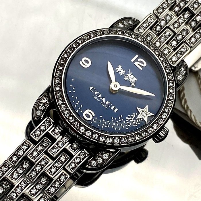 COACH蔻馳女錶,編號CH00004,24mm銀圓形精鋼錶殼,寶藍色流星錶面,銀色鑲鑽精鋼錶帶款