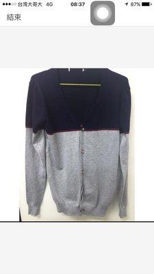 拼色針織罩衫外套 深藍配灰 可穿到L