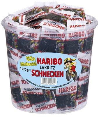 德國Haribo 甘草黑捲糖 蝸牛捲糖 單口包*100個 桶裝