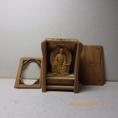 紫晶宮**精品隨身佛龕黃楊木黃大仙木雕佛像**盒子10.8釐米*7.6釐米*5.2釐米