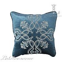 【芮洛蔓 La Romance】 奢華系列銀色貴族圖騰抱枕 – 藍綠色
