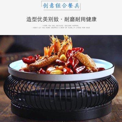 復古新中式創意陶瓷圓形加熱保溫大盤餐具(2號)