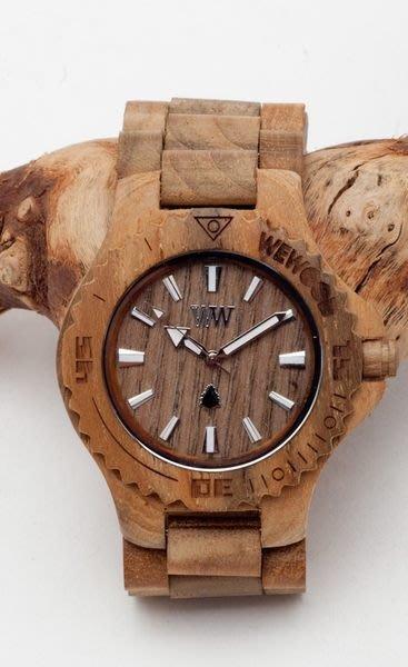 【美國鞋校】現貨 義大利 We Wood WEWOOD DATE TEAK 木頭錶 原木色 木頭指針錶