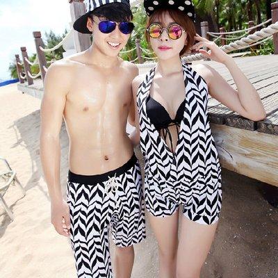 泳衣 幾何圖案三件式比基尼海灘褲情侶泳裝【O2932】(女裝)☆雙兒網☆