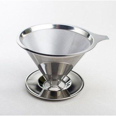 台灣製 慢拾光 手沖式不銹鋼咖啡濾杯 2-4人 304 (18-8) 不鏽鋼 雙層濾網 免濾紙 濾杯