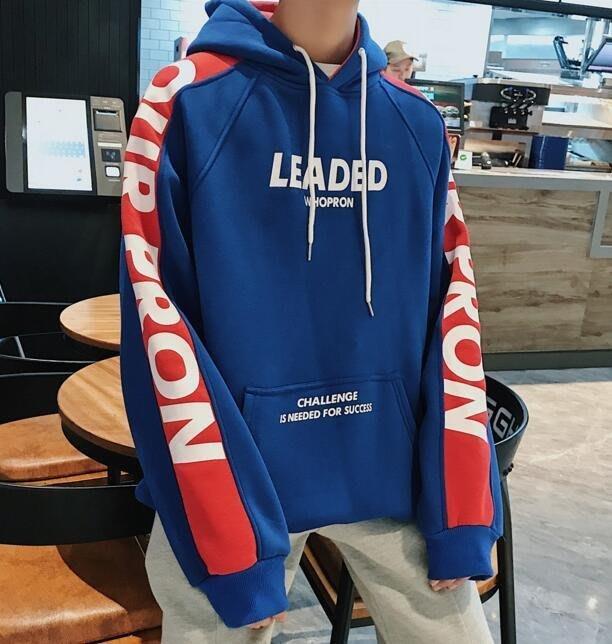 FINDSENSE品牌2019 新春 新款 韓國  長袖 運動 連帽衛衣 拼接 套頭字母 外套  時尚 潮流上衣
