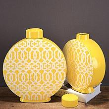 〖洋碼頭〗新中式黃色陶瓷罐花瓶創意軟裝飾家居飾品陶瓷擺件復古中式花紋 ysh503