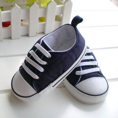 鞋鞋樂園~藍色球鞋-嬰兒鞋-寶寶鞋-學步鞋-幼兒鞋-童鞋-帆布鞋-防滑鞋-鬆緊帶設計-坐學步車穿-特價125元