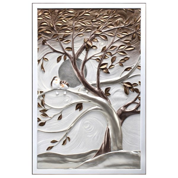 5Cgo【茗道】 豎版單聯無框裝飾畫走廊過道餐廳掛畫3d立體浮雕畫現代發財樹寓意發財環保材質走廊45006996237