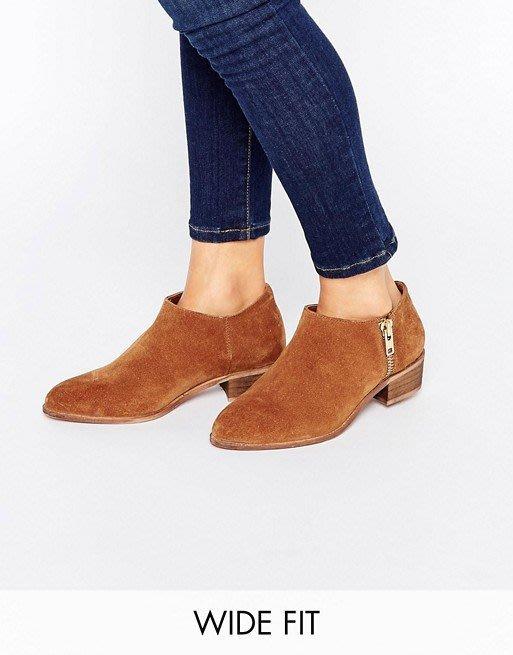 ◎美國代買◎ASOS拉鏈設計低方跟咖啡色尖圓頭麂才踝靴~歐美街風~大尺碼