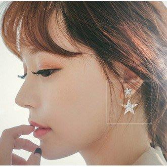 海淘吧~韓國滿鑽大小前後兩用星星耳釘女個性潮時尚氣質耳環耳飾品防過敏FSD98J