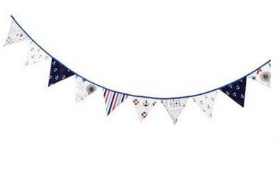 童趣棉布三角旗 生日派對裝飾道具 露營帳篷佈置品 鄉村風野餐聚會戶外布置 海軍風 地中海風