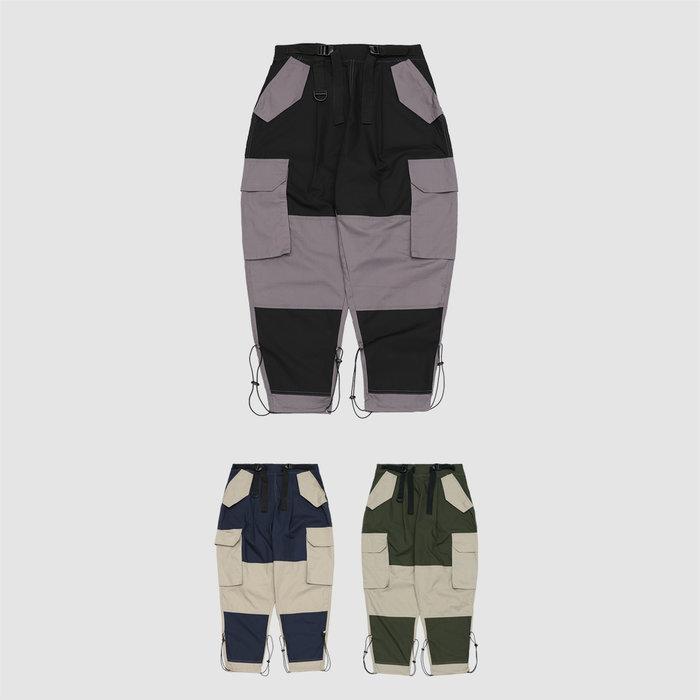 【DETAL】 - 韓國 調節式 工裝褲 拼接工作褲
