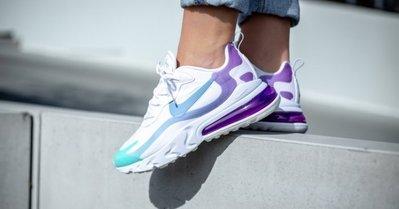 [飛董] NIKE AIR MAX 270 REACT 氣墊 運動鞋 慢跑鞋 女鞋 AT6174 102 白 水藍 紫