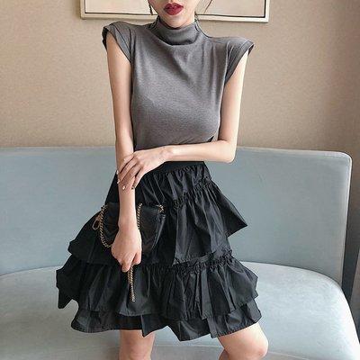 百搭 潮流 時尚 個性 韓版新款韓版復古 修身無袖上衣多層荷葉邊蛋糕裙小清新兩件套