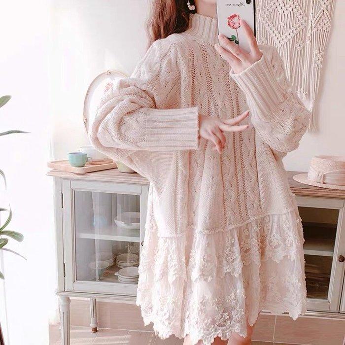 杏色 娃娃衫 毛衣 蕾絲 洋裝 中大尺碼 長版上衣 ~ 1018