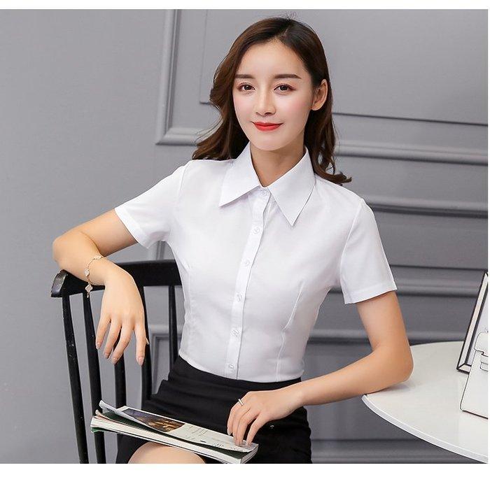 女 短袖 襯衫 韓版 V領 氣質 OL 上班族 修身【柔依衣坊 Zoe Shop】C53-33