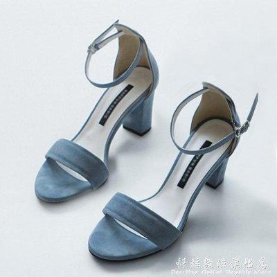 現貨/涼鞋女夏天新款中跟粗跟學生百搭露趾一字扣帶羅馬小碼高跟鞋/海淘吧F56LO 促銷價