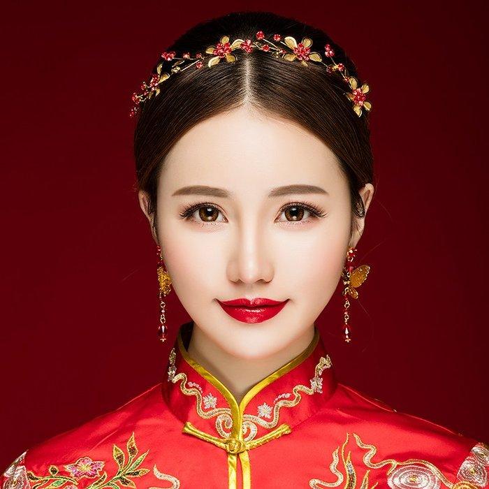 解憂zakka~ 新娘頭飾古裝秀禾服中式結婚禮紅色飾品敬酒服古風簡約發箍女發飾#頭飾#髮飾
