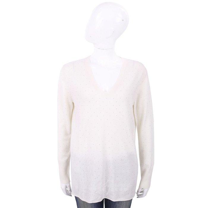 米蘭廣場 ALLUDE 喀什米爾白色星空鑽飾V領針織羊毛衫 1740244-20