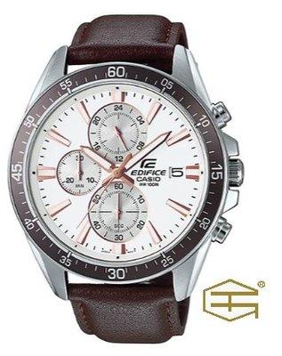 【天龜】 CASIO EDIFICE  時尚經典 三眼計時真皮錶款  EFR-546L-7A