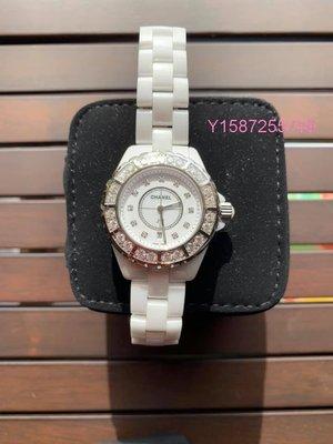 CHANEL J12 白色陶瓷大鑽框石英錶 33CM
