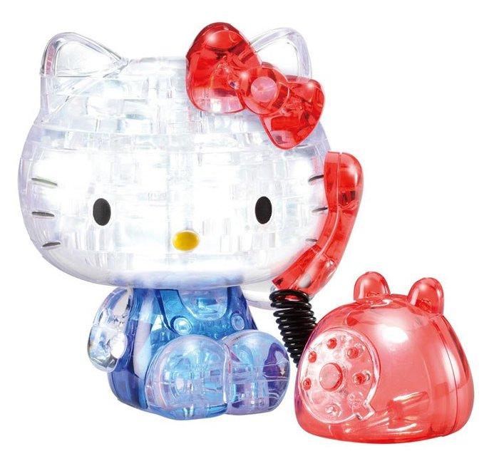 日本進口拼圖 迪士尼 三麗鷗 凱蒂貓 Hello Kitty 39片3D立體塑膠透明水晶拼圖 7642
