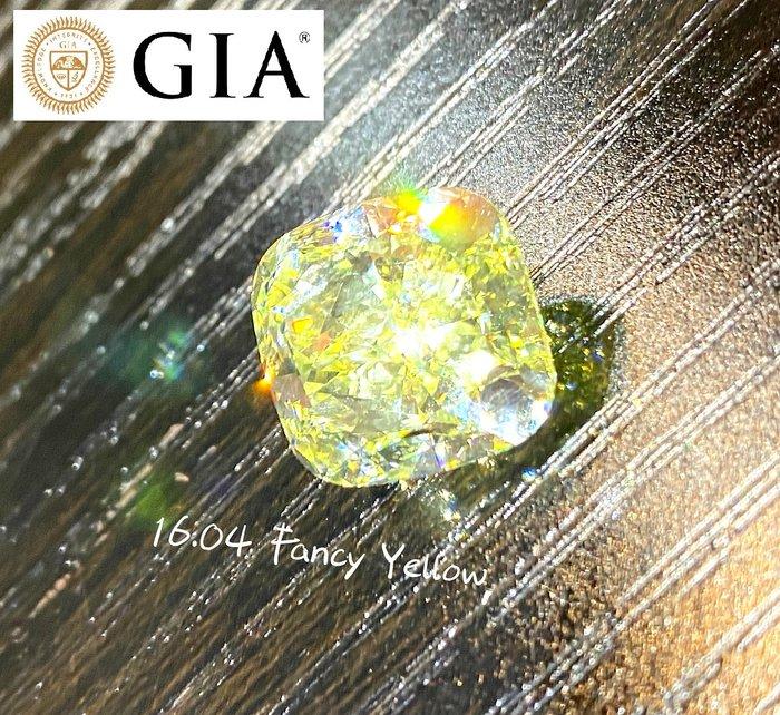 【台北周先生】天然Fancy正黃色鑽石 16.04克拉 超巨大 Even分布 超乾淨VS1 送GIA證書