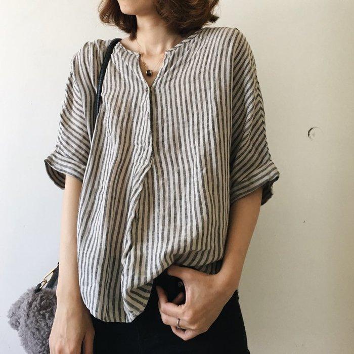 棉麻襯衫直條紋顯瘦V領五分袖套頭襯衫