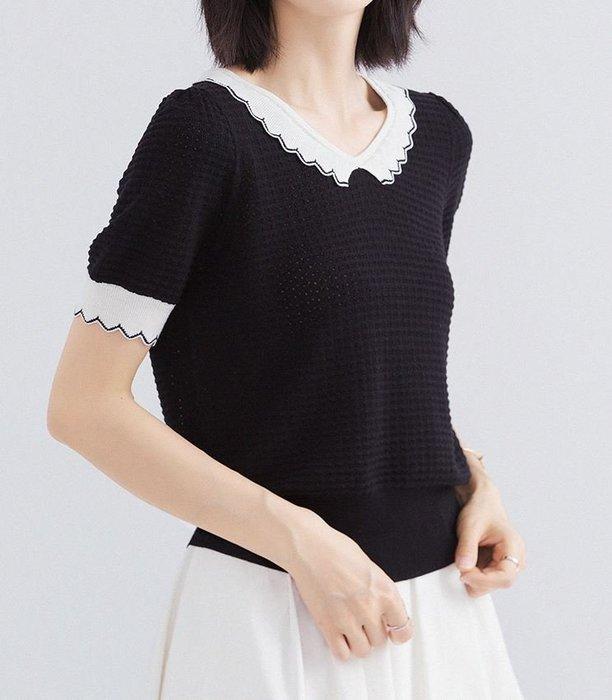 氣質鏤空蠶絲羊毛混紡針織衫 1302