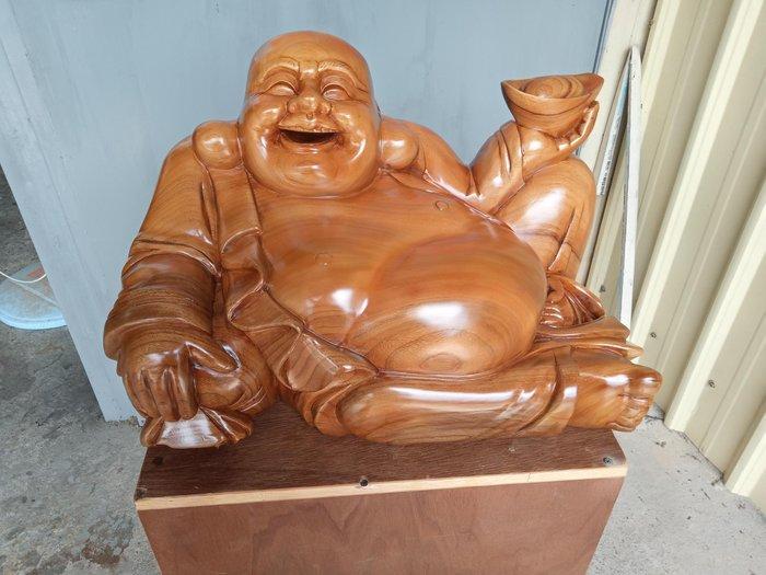 1呎9 臥姿彌勒財神爺 台灣樟木雕刻