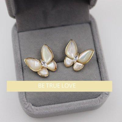 614002 蝴蝶鑽石貝母耳環