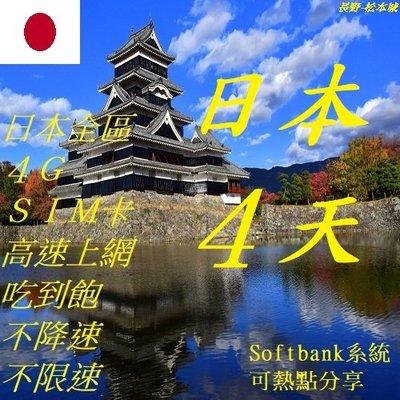 日本 4天/4日 上網 4G SIM 網卡 (附卡針) wifi 全區 免開通 插卡即用 吃到飽 不降速 不限速
