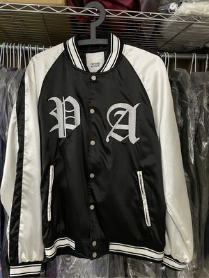 二手~Profound Aesthetic 絲綢緞面黑白色棒球夾克 ~size:M