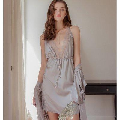 情趣內衣 角色扮演 氣質灰性感深V緞面絲滑情趣內衣激情套裝蕾絲側開叉誘惑睡裙舒適