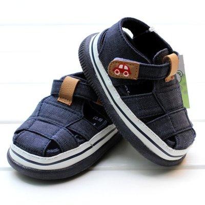 鞋鞋樂園~藍色休閒膠底涼鞋-學步鞋-幼...
