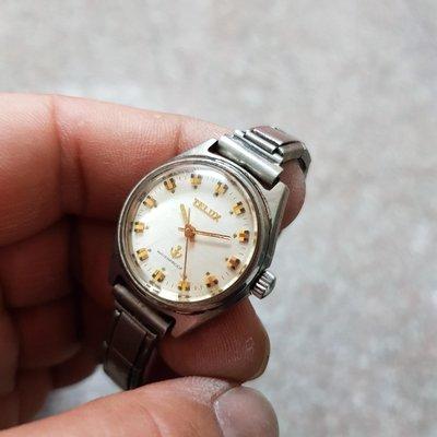 ☆機械錶 25mm 中型女錶 TELUX 早期好貨☆絕版 <膠鏡>老錶 零件錶 直接賣 黑白賣 隨便賣 E04