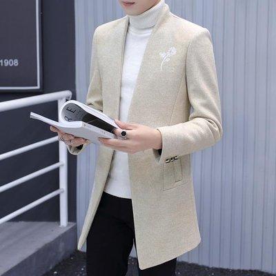 【蘑菇小隊】立領小西裝男韓版修身中山裝中長款羊毛呢子西服秋春季風衣外套潮-MG12240