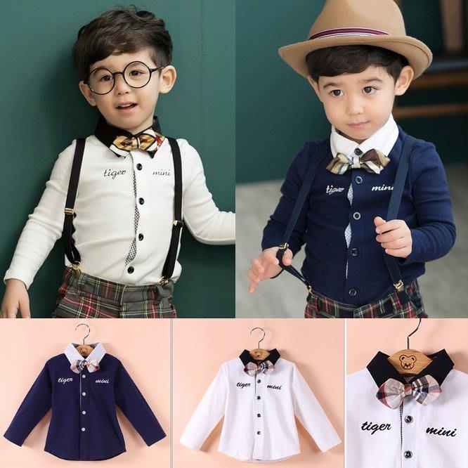 韓版《領結小紳士》百搭長袖上衣 (L4-3)