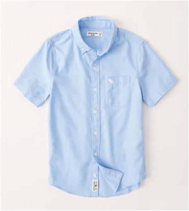 【可美童裝】預購~美國A&F kids 2020春夏《男童/青少年書卷氣短袖襯衫, 296093, 淺藍》5Y-16Y