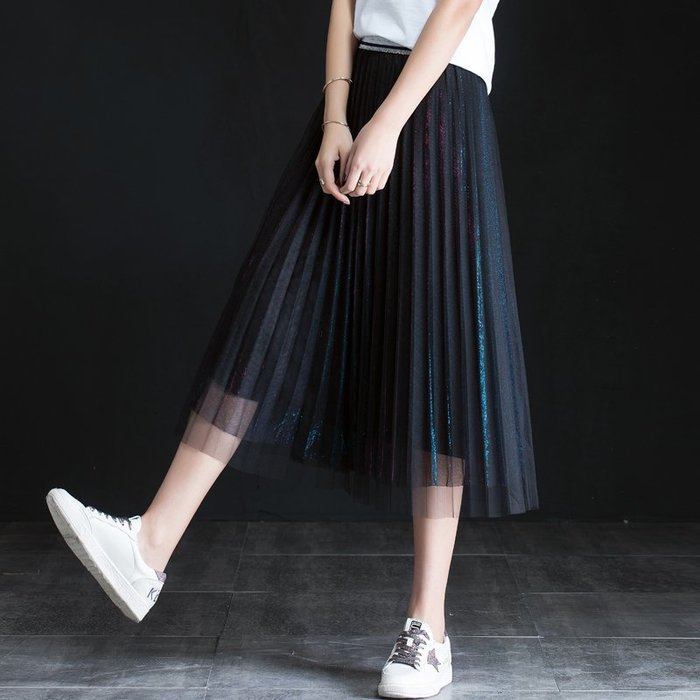Fashion*黑色百褶裙 中長款松緊腰仙女紗裙半身裙 網紗蕾絲半身裙 漸變時尚