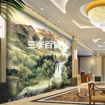 三季定制 大型壁畫 電視沙發臥室背景墻紙壁紙 酒店大堂客廳 國畫瀑布山水❖772