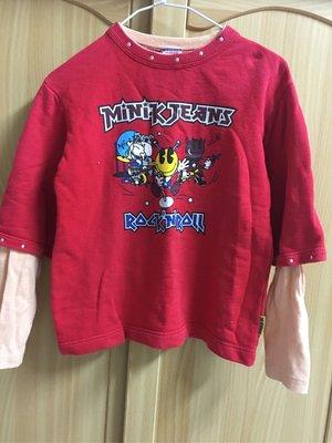 。☆二手☆。日本MINI-K正品假兩件長袖棉T(110)//原價$4980